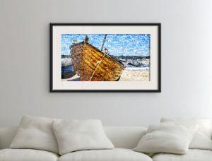 Fotomozaiek als poster met voorbeeld boot op strand