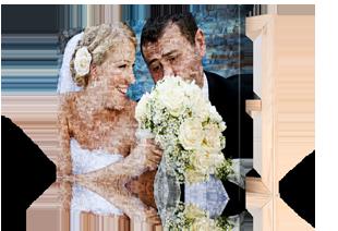 Fotomozaiek bruidspaar op canvas afgedrukt klein