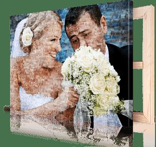Fotomozaiek bruidspaar op canvas afgedrukt