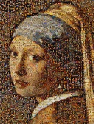 Fotomozaiek het meisje met de parel