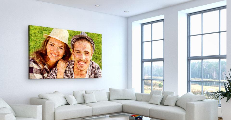 Fotomozaiek op canvas in woonkamer