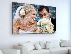 FFotomozaiek op canvas van bruidspaar met bruidsboeket