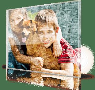 Fotomozaiek op plexiglas gedrukt met foto van kinderen
