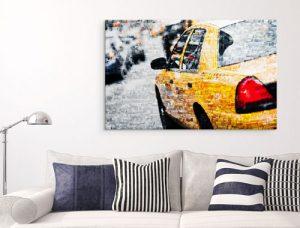 Fotomozaiek op plexiglas met voorbeeld gele auto