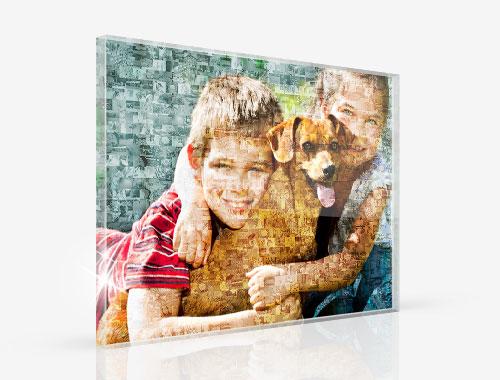 Fotomozaiek op plexiglas met voorbeeld kinderen en hond