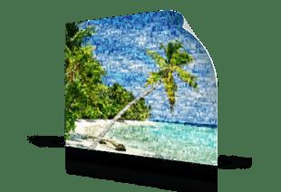Fotomozaiek strand als poster gedrukt
