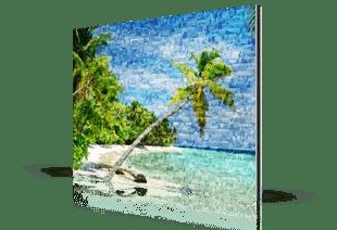 Fotomozaiek strand op aluminium gedrukt
