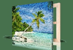 Fotomozaiek strand op canvas gedrukt