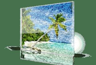 Fotomozaiek strand op plexiglas gedrukt