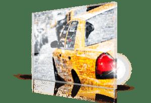Fotomozaiek taxi op plexiglas afgedrukt