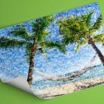 Fotoposter met mozaiek met voorbeeld hangmat op strand