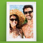 Fotoposter met mozaiek van paar op vakantie