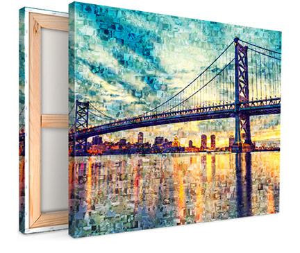 Mozaiek op canvas met voorbeeld brug aanzicht
