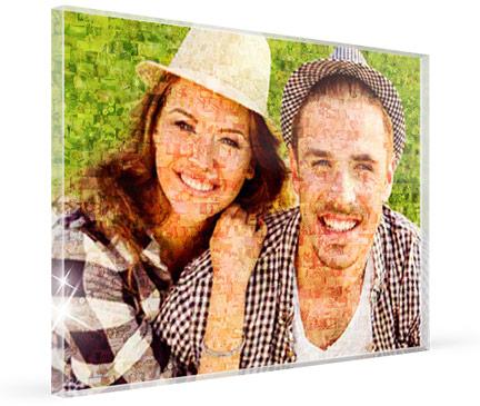 Mozaiek op plexiglas met foto van stelletje