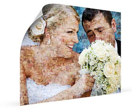 Mozaiek op poster met foto van bruidspaar en bloemen