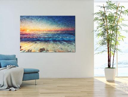 Woning met mozaiek op aluminium met voorbeeld strand