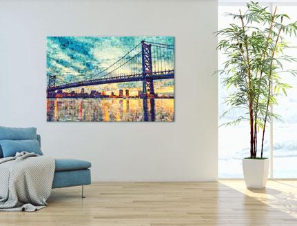 Woning met mozaiek op canvas met foto van brug