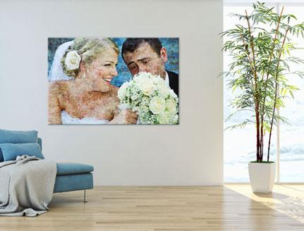 Woning met mozaiek op poster met bruidspaar
