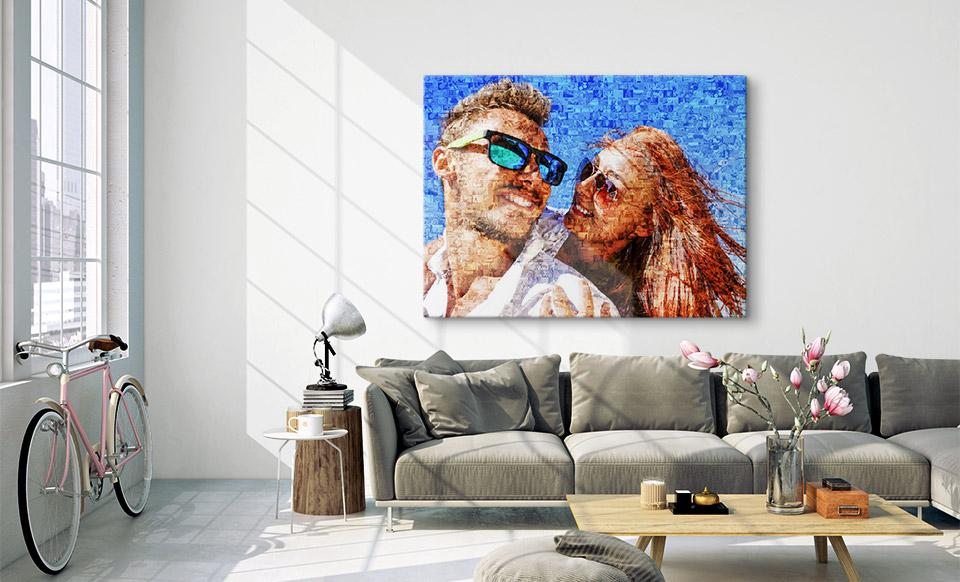 fotomozaïek op canvas woonruimte
