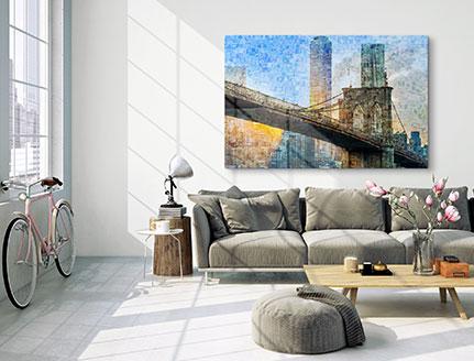 fotomozaiek acrylglas woonkamer