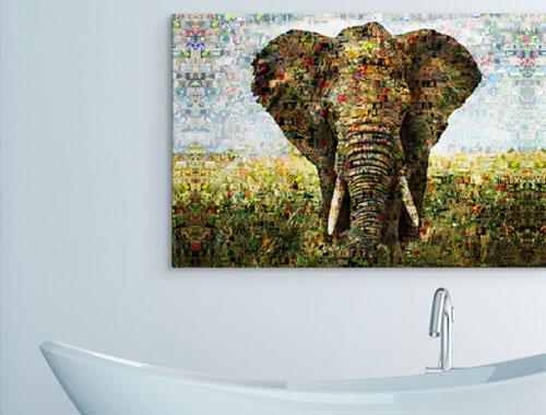 woonkamer mozaïek aluminium olifant